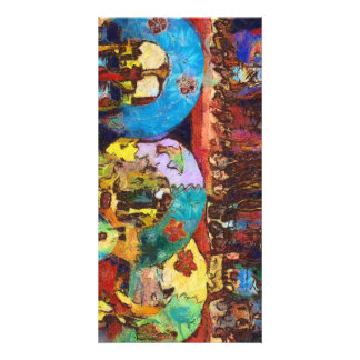 Colorful decorations up for sale personalised photo card