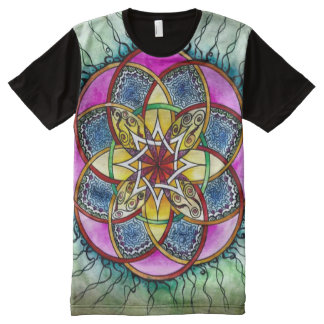 Colorful Decorative Astral Protection Mandala Art All-Over Print T-Shirt
