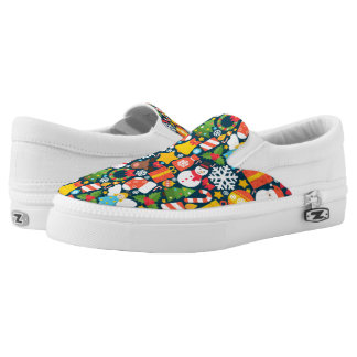 Colorful decorative christmas elements slip on shoes