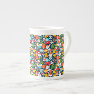 Colorful decorative christmas elements tea cup