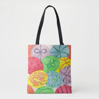 Colorful Decorative Easter Eggs Tote Bags