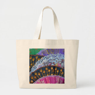 Colorful decorative fans jumbo tote bag