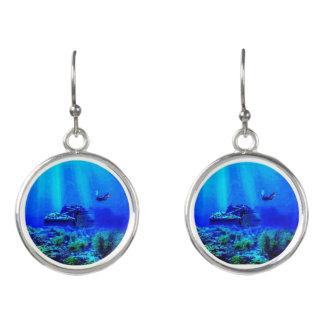 Colorful Deep Blue Seas Drop Earrings