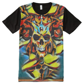 Colorful Demon Skull Acrylic Paint All-Over Print T-Shirt