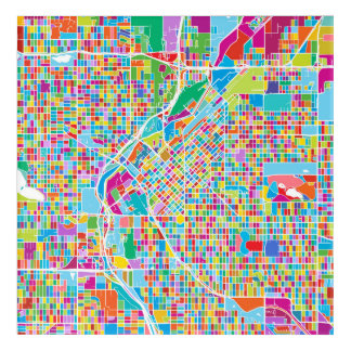 Colorful Denver Map Acrylic Wall Art