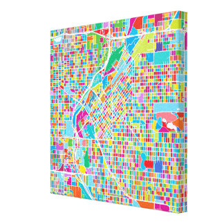 Colorful Denver Map Canvas Print
