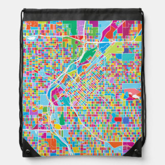 Colorful Denver Map Drawstring Bag