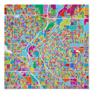 Colorful Denver Map Poster