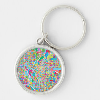 Colorful Denver Map Silver-Colored Round Key Ring