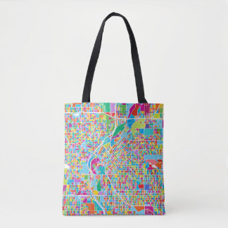 Colorful Denver Map Tote Bag