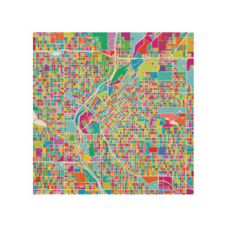 Colorful Denver Map Wood Print