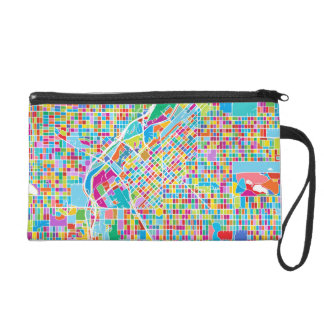 Colorful Denver Map Wristlet