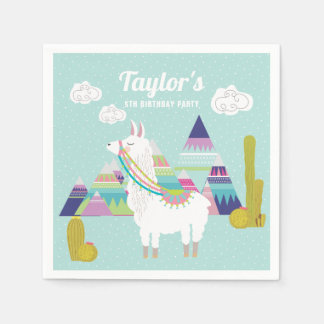 Colorful Desert Llama Personalized Paper Napkins Disposable Napkin