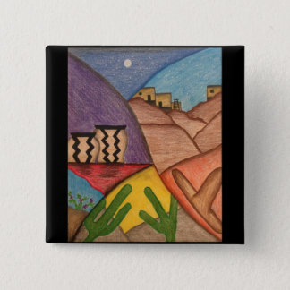 Colorful Desert Southwest Folk Art Fashion Button