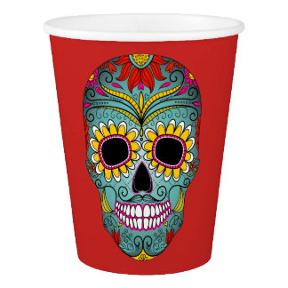 Colorful Design Dia de los Muertos Day Of The Dead Paper Cup