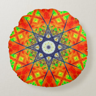 Colorful Detailed Star Mandala Round Cushion