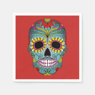 Colorful Dia de los Muertos Day Of The Dead Party Disposable Napkin
