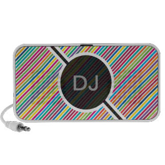 Colorful Diagonal Candy Stripe - Custom Text Notebook Speakers