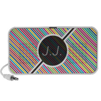 Colorful Diagonal Candy Stripe - Custom Text Travelling Speakers