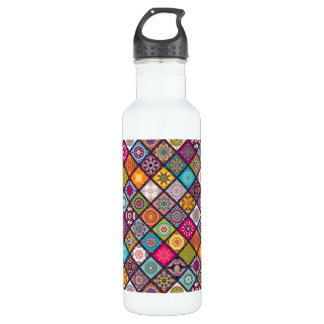 Colorful diamond tiled mandalas floral pattern 710 ml water bottle