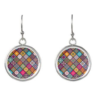 Colorful diamond tiled mandalas floral pattern earrings