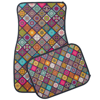 Colorful diamond tiled mandalas floral pattern floor mat