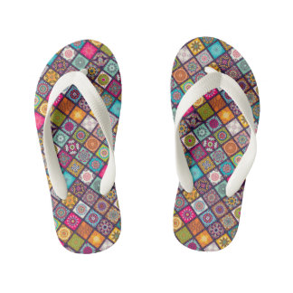 Colorful diamond tiled mandalas floral pattern kid's thongs