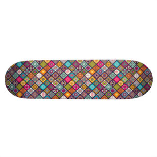 Colorful diamond tiled mandalas floral pattern skate boards