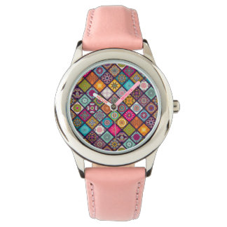 Colorful diamond tiled mandalas floral pattern wristwatches