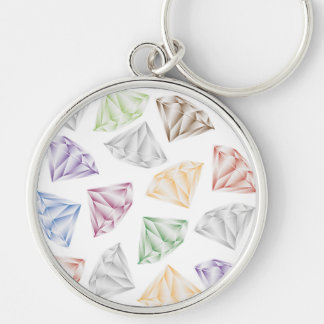 Colorful Diamonds for my sweetheart Silver-Colored Round Key Ring