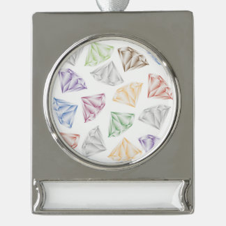 Colorful Diamonds for my sweetheart Silver Plated Banner Ornament
