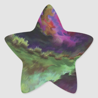 Colorful Digital Abstract Painting Star Sticker