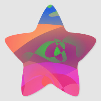 Colorful Digital Abstract Star Sticker