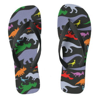Colorful Dinosaur Pattern (Dark) Thongs