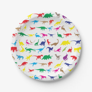 Colorful dinosaurs paper plate