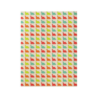 Colorful dinosaurs wood poster