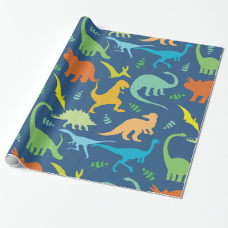 Colorful Dinosaurs Wrapping Paper