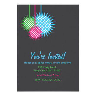 Colorful Disco Ball Party Announcement