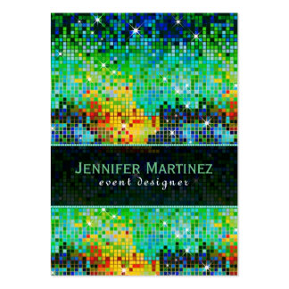 Colorful Disco Glitter & Sparkles Green Overtones Pack Of Chubby Business Cards
