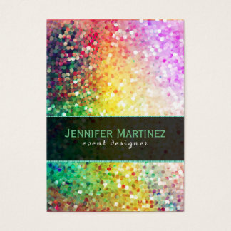 Colorful Disco Glitter & Sparkles Yellow Overtones Business Card