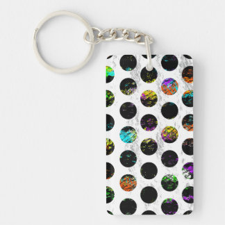 Colorful Distressed Polkadots Double-Sided Rectangular Acrylic Key Ring