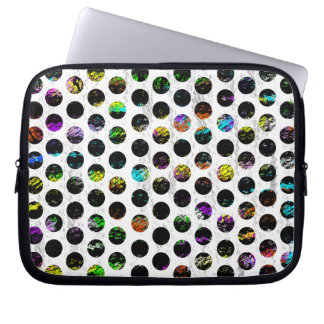 Colorful Distressed Polkadots Laptop Computer Sleeve