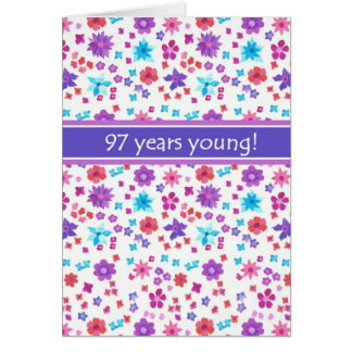 Colorful Ditsy Floral Age-specific 97th Birthday Card