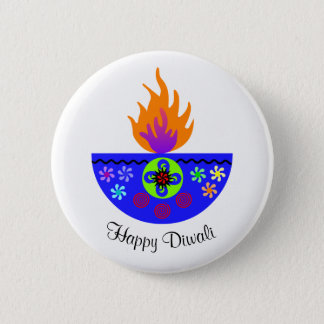 Colorful Diwali Lamp Diya 6 Cm Round Badge