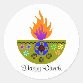 Colorful Diwali Lamp Diya Classic Round Sticker