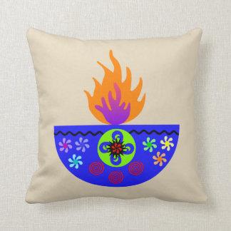 Colorful Diwali Lamp Diya Cushion