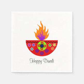 Colorful Diwali Lamp Diya Disposable Napkins