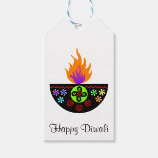 Colorful Diwali Lamp Diya Gift Tags