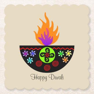 Colorful Diwali Lamp Diya Paper Coaster