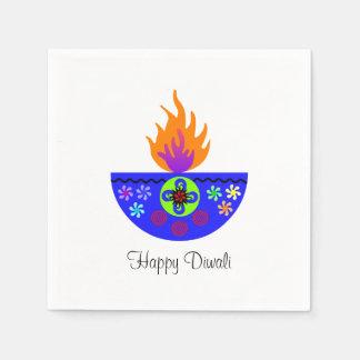 Colorful Diwali Lamp Diya Paper Serviettes